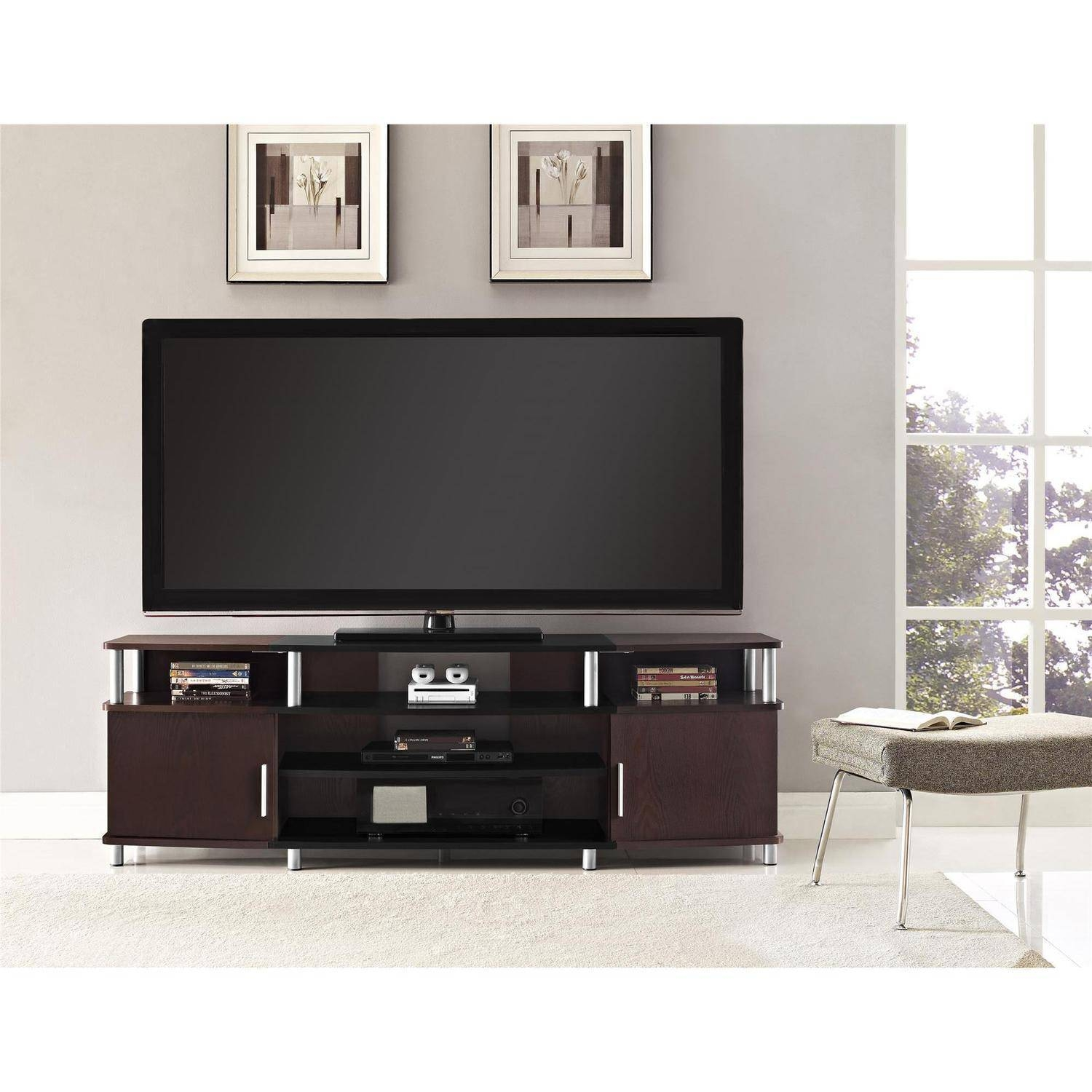 "Carson Tv Stand For Tvs Up To 70"" Wide, Cherry - Walmart inside Dark Tv Stands (Image 3 of 15)"
