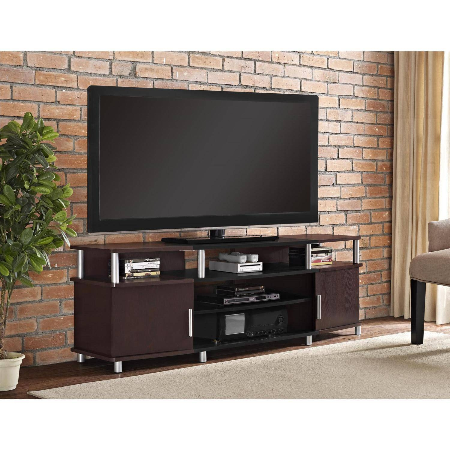 """Carson Tv Stand For Tvs Up To 70"""" Wide, Cherry - Walmart with Cherry Wood Tv Cabinets (Image 2 of 15)"""