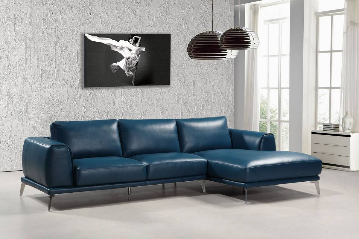 Casa Drancy Modern Blue Bonded Leather Sectional Sofa pertaining to Blue Leather Sectional Sofas (Image 5 of 15)