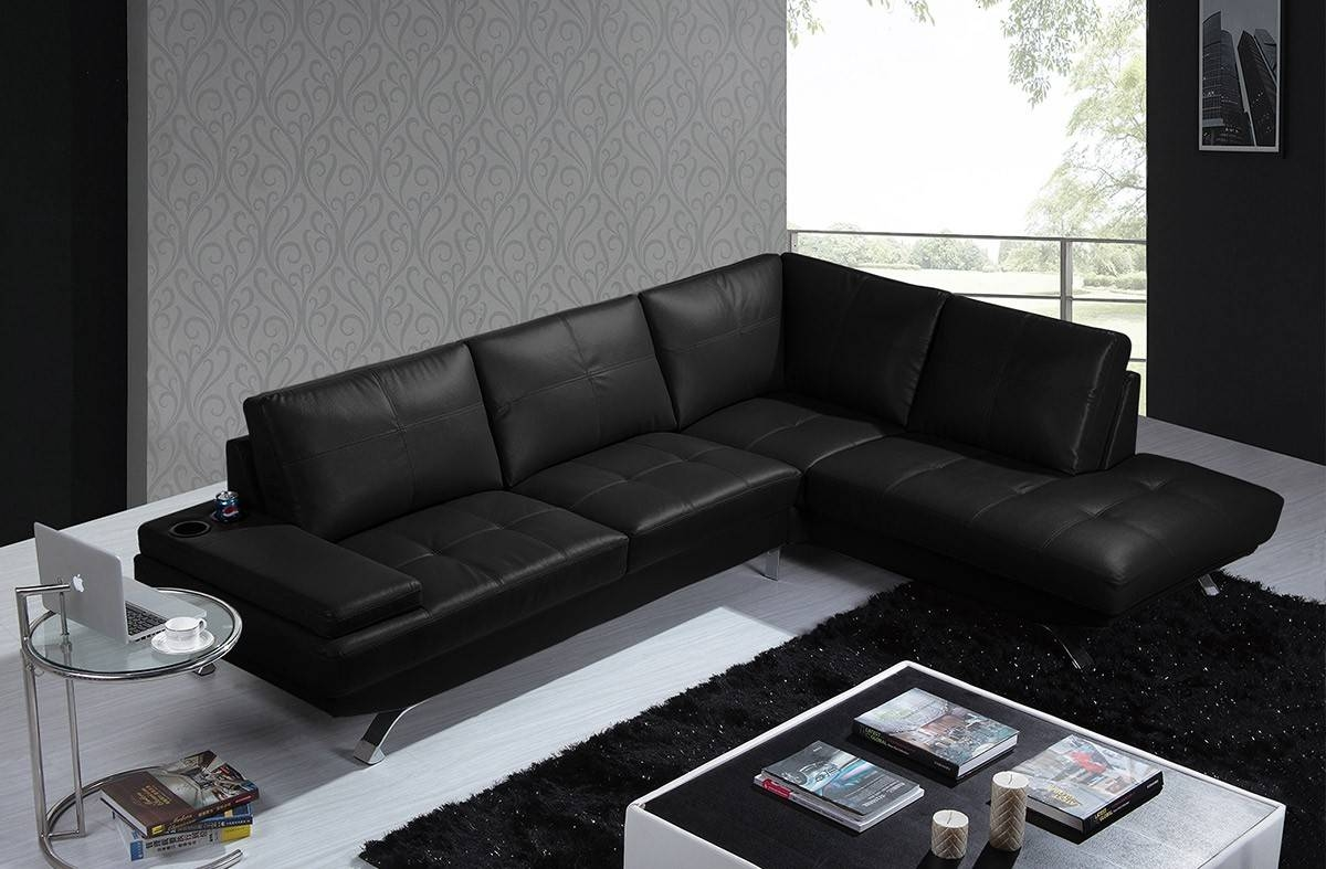 Casa Knight Modern Black Leather Sectional Sofa inside Black Modern Sectional Sofas (Image 2 of 15)