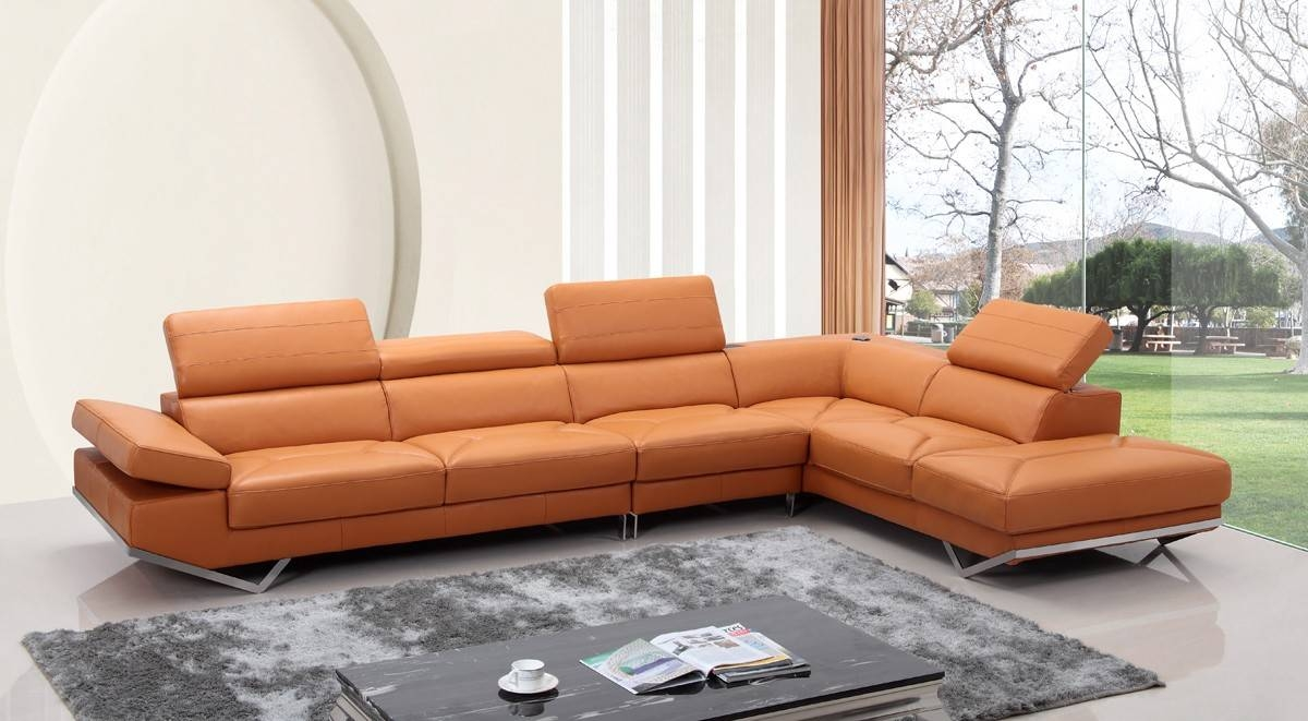 Casa Quebec Modern Orange Leather Sectional Sofa throughout Orange Sectional Sofas (Image 4 of 15)