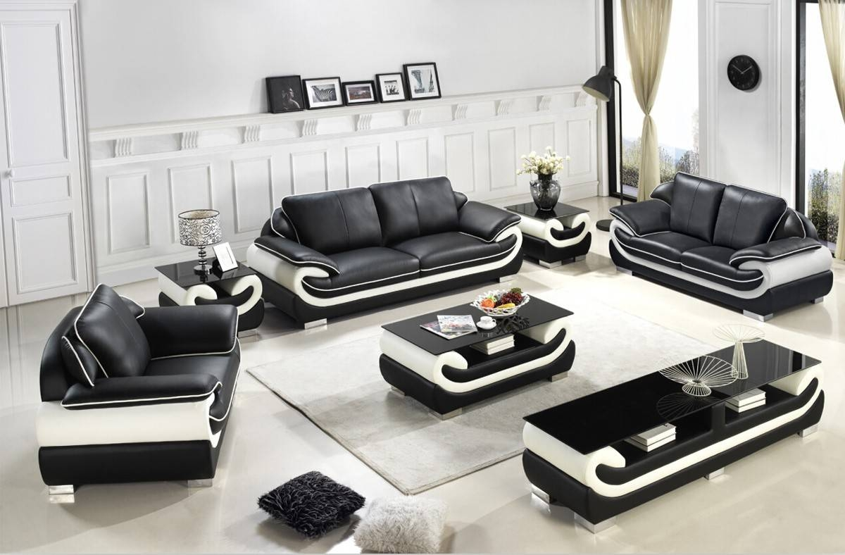 Casa T777 Modern Black & White Bonded Leather Sofa Set throughout Black And White Leather Sofas (Image 8 of 15)