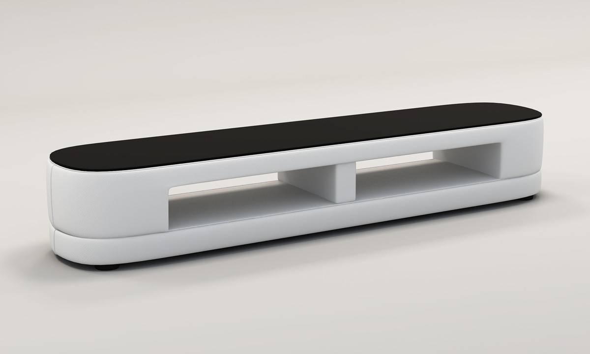 Casa Tv25 Modern White Bonded Leather Tv Stand regarding Modern White Tv Stands (Image 1 of 15)