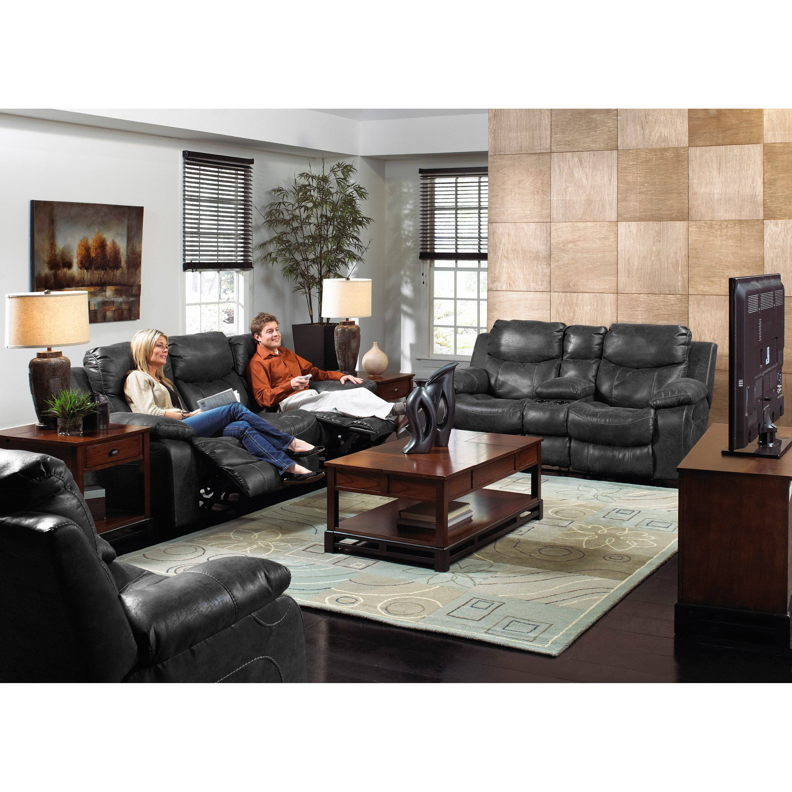 Catnapper Catalina Leather Reclining Sofa Set - Steel - Walmart in Catnapper Reclining Sofas (Image 5 of 15)