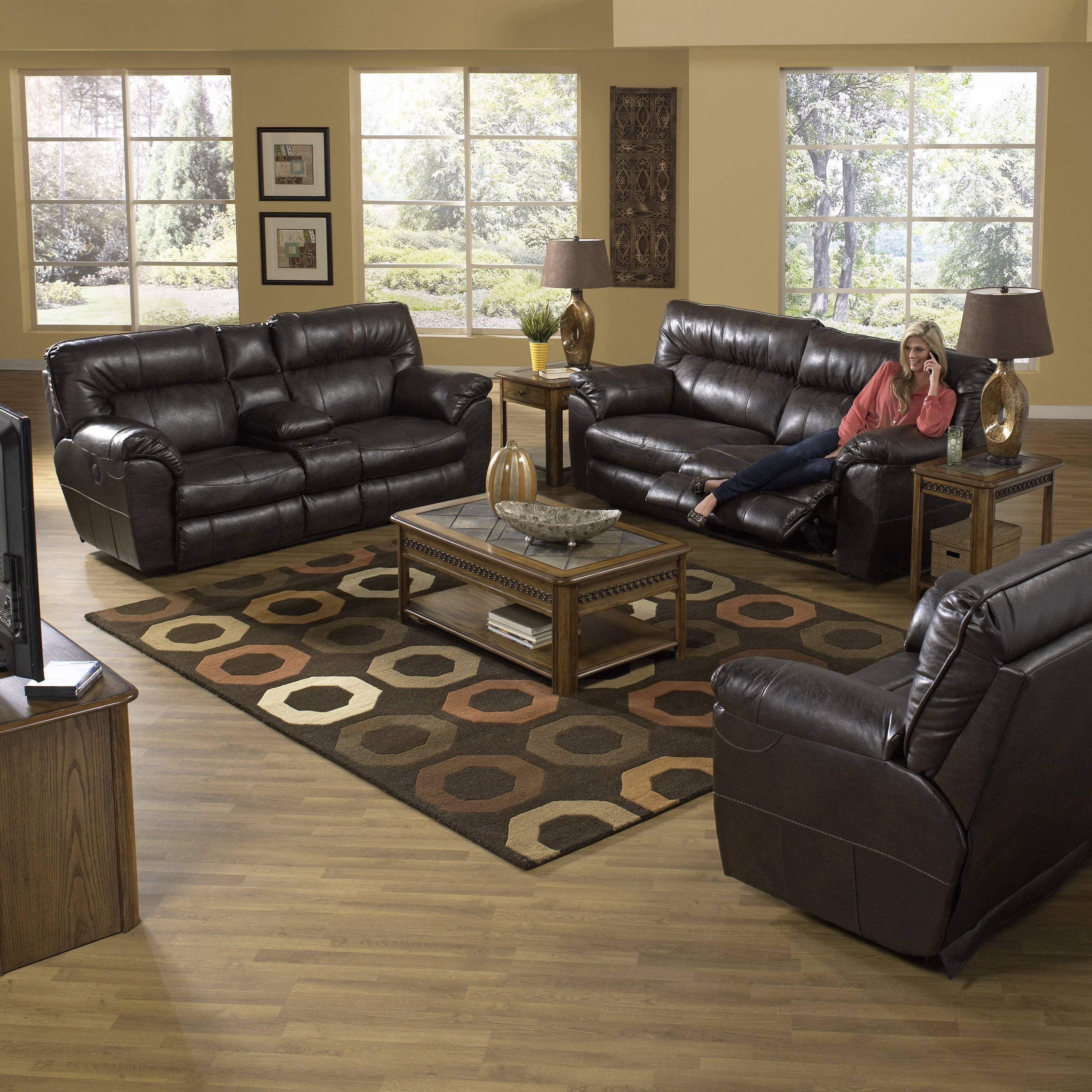 Catnapper Nolan Leather Reclining Sofa Set - Godiva - Walmart within Catnapper Reclining Sofas (Image 7 of 15)