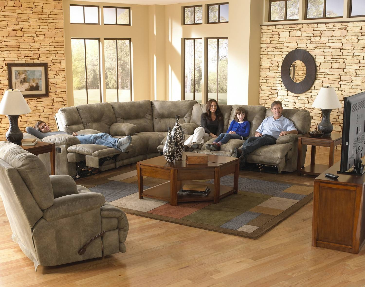 Catnapper Voyager Lay Flat 3-Pc Sectional W/ Triple Recline Sofa with regard to Catnapper Reclining Sofas (Image 8 of 15)