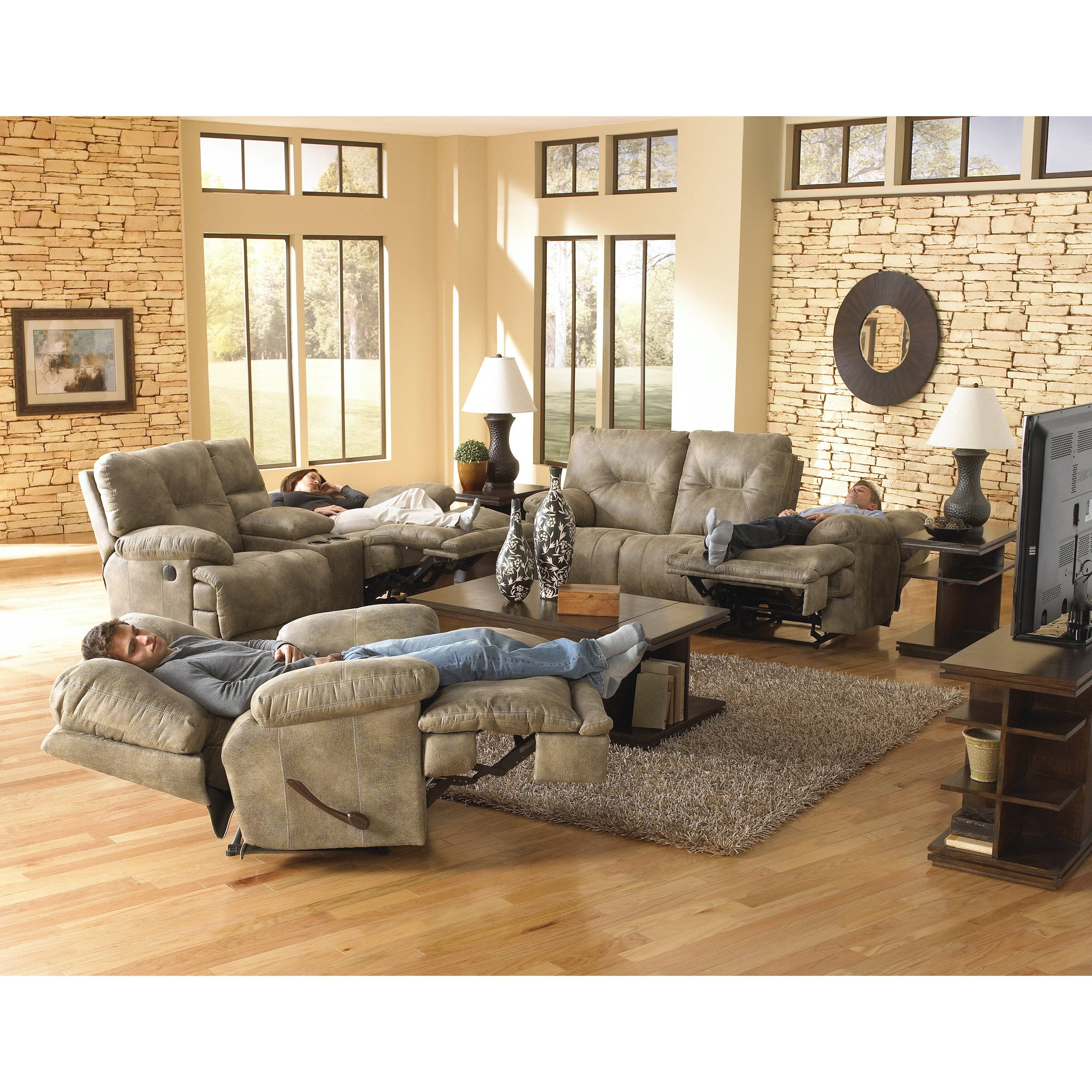 Catnapper Voyager Reclining Sofa Set - Brandy | Hayneedle with regard to Catnapper Reclining Sofas (Image 9 of 15)