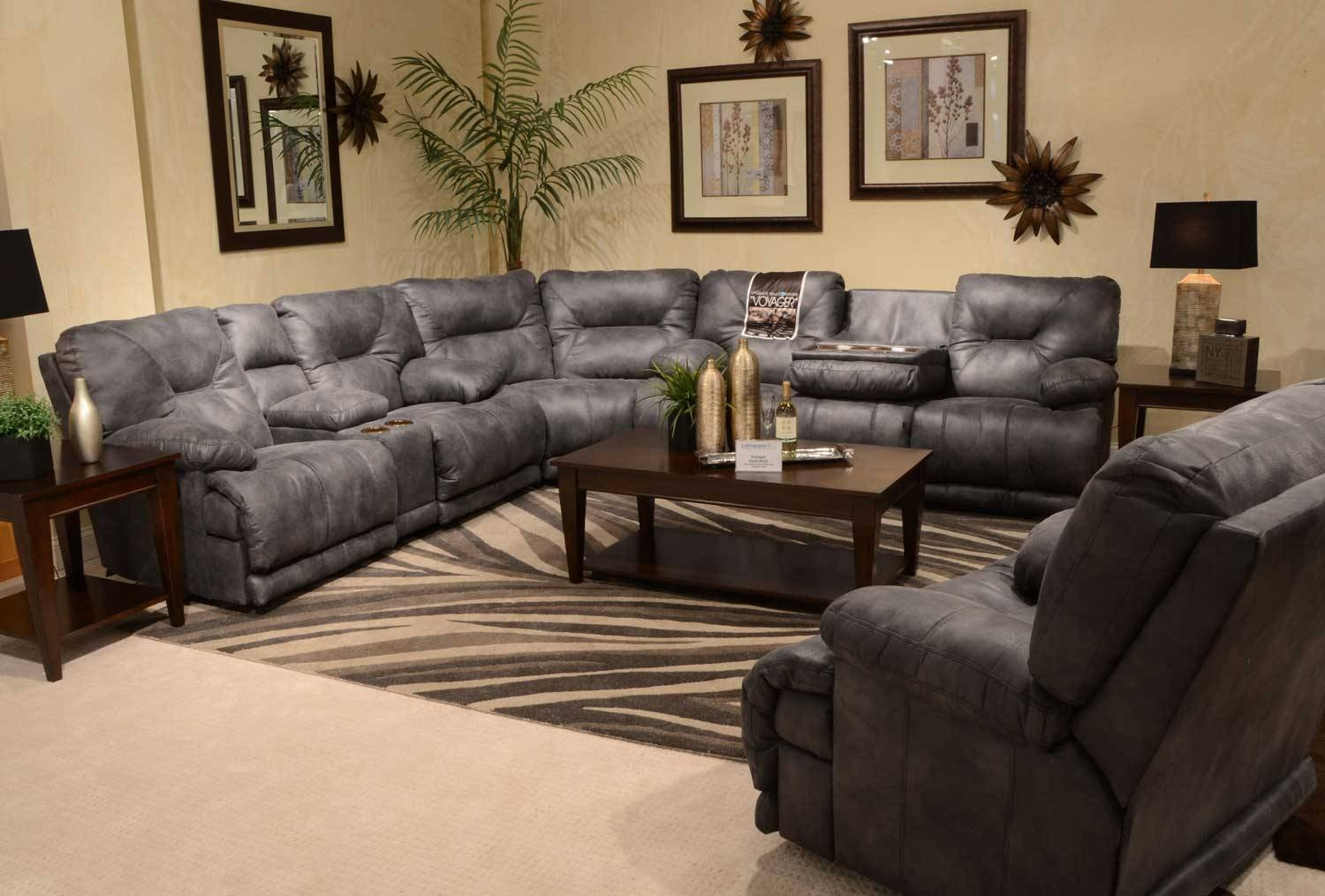 Catnapper Voyager Sectional With Lay Flat 3 Recliner Sofa, Console With Regard To Catnapper Recliner Sofas (View 5 of 15)