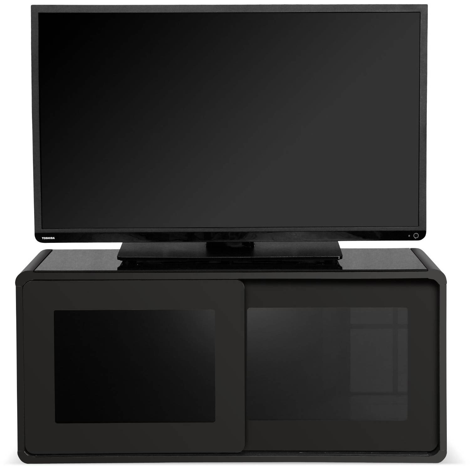 Centurion Supports Nora Gloss Black With Beam-Thru Glass Sliding regarding Beam Thru Tv Cabinet (Image 3 of 15)