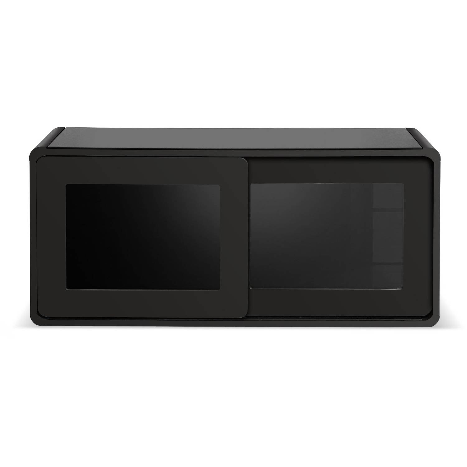 Centurion Supports Nora Gloss Black With Beam-Thru Glass Sliding with Beam Thru Tv Cabinet (Image 5 of 15)