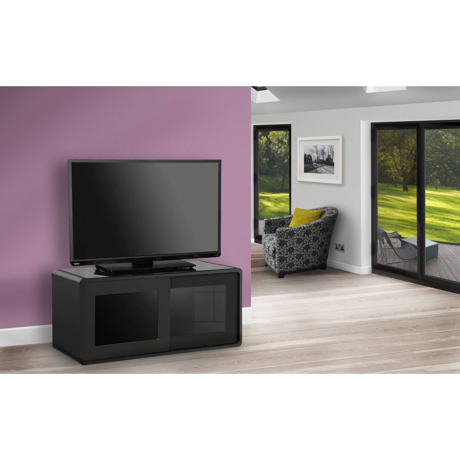 Centurion Supports Nora Gloss Black With Beam-Thru Glass Sliding with Beam Thru Tv Cabinet (Image 4 of 15)
