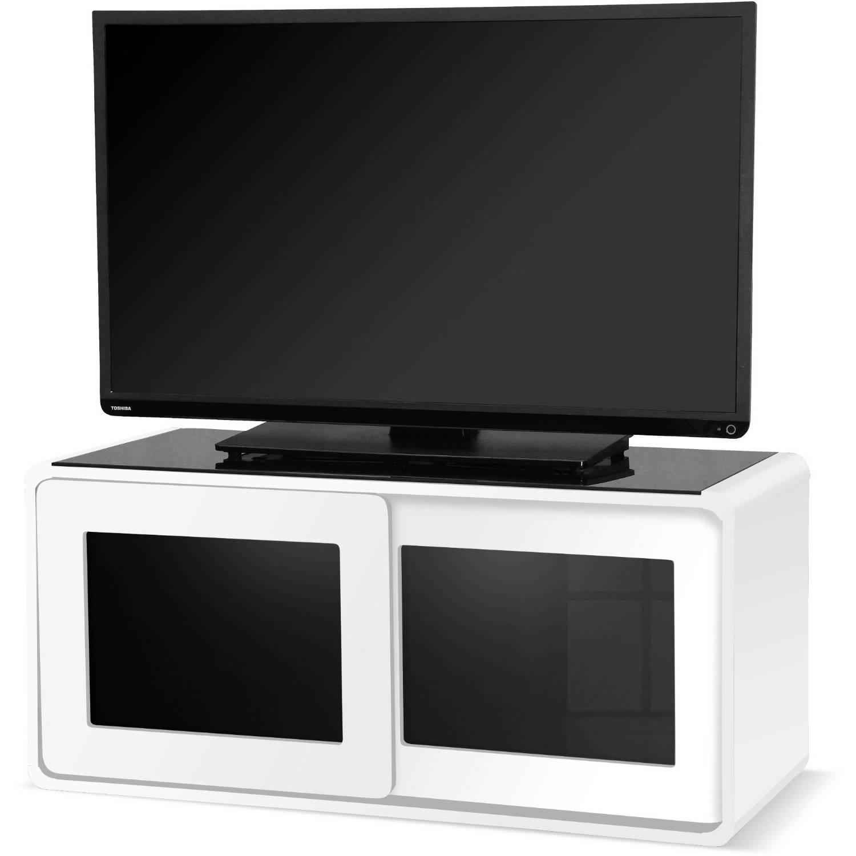 Centurion Supports Nora Gloss White With Beam Thru Glass Sliding Regarding Beam Thru Tv Cabinet (View 5 of 15)