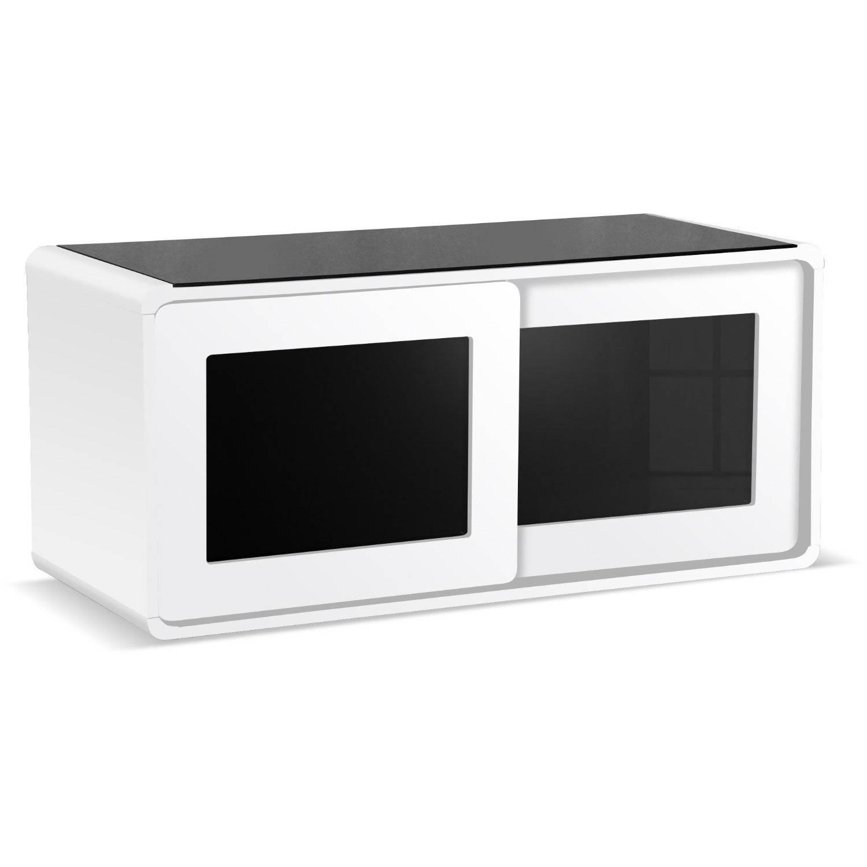 Centurion Supports Nora Gloss White With Beam Thru Glass Sliding Within Beam Thru Tv Cabinet (View 4 of 15)
