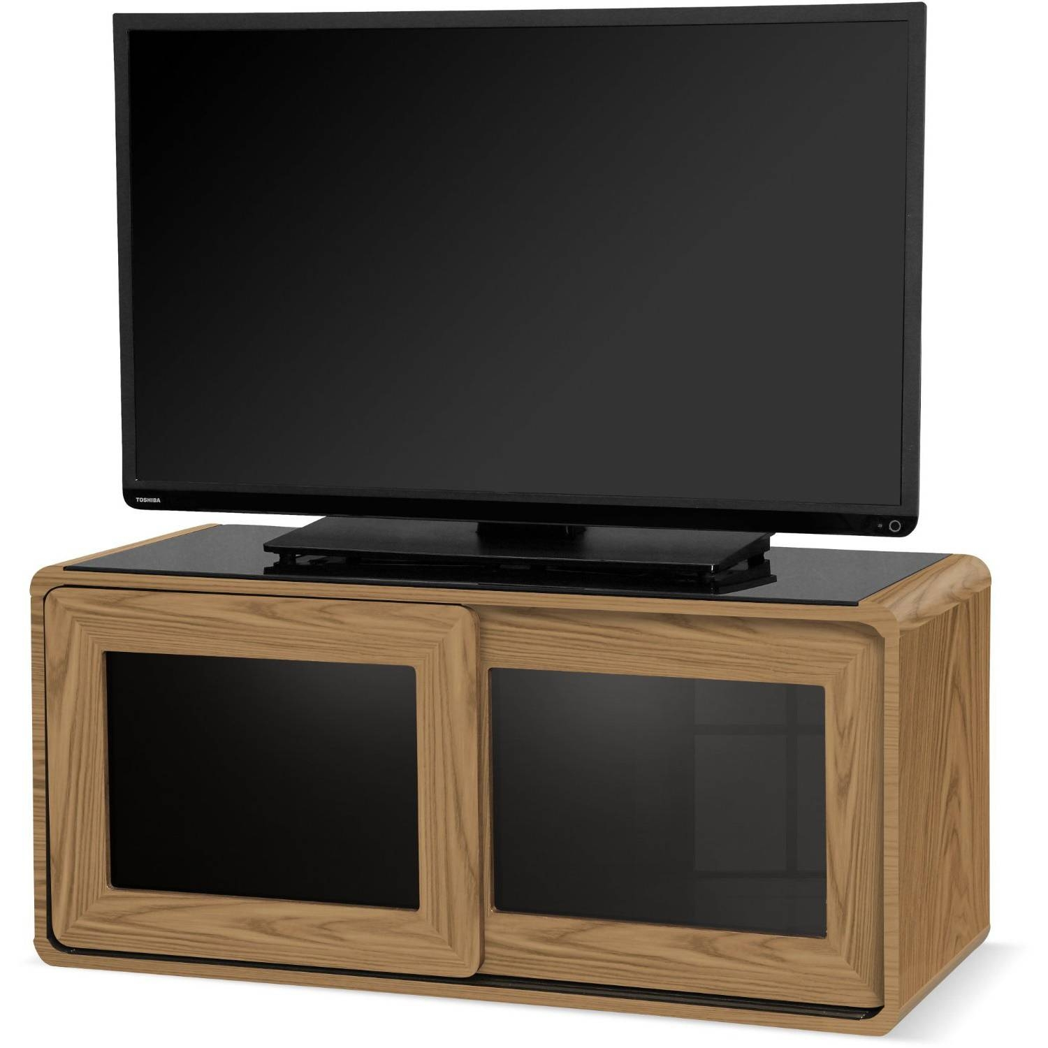 Centurion Supports Nora Oak With Beam-Thru Glass Sliding Door Tv within Beam Thru Tv Cabinet (Image 9 of 15)