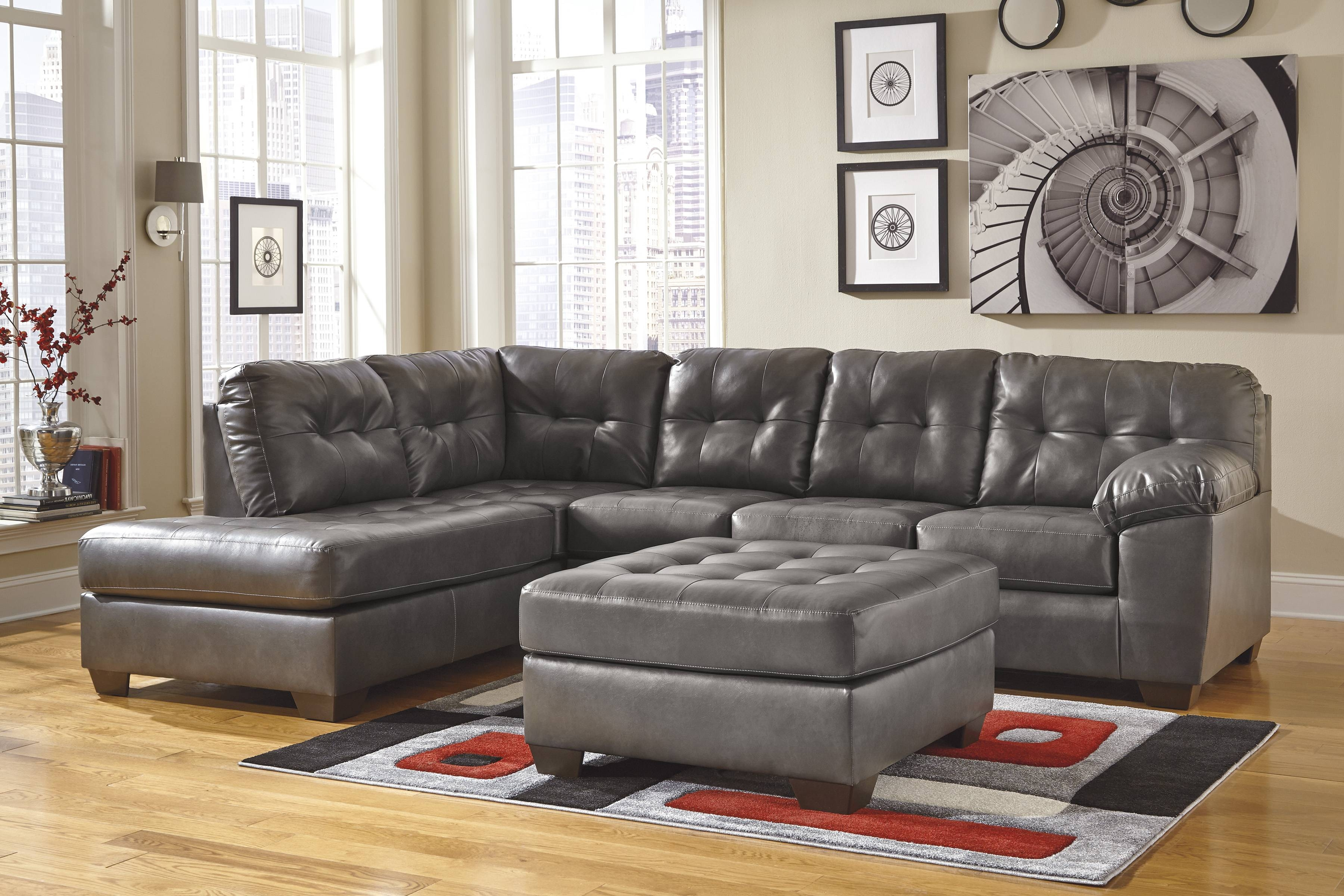 Chair & Sofa: Faux Leather Couch | Ashley Furniture Sectional inside Ashley Faux Leather Sectional Sofas (Image 3 of 15)