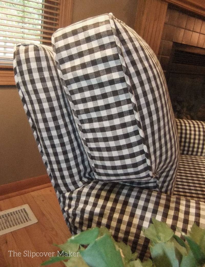 Charcoal Gingham Chair Slipcover   The Slipcover Maker in Gingham Sofas (Image 4 of 15)