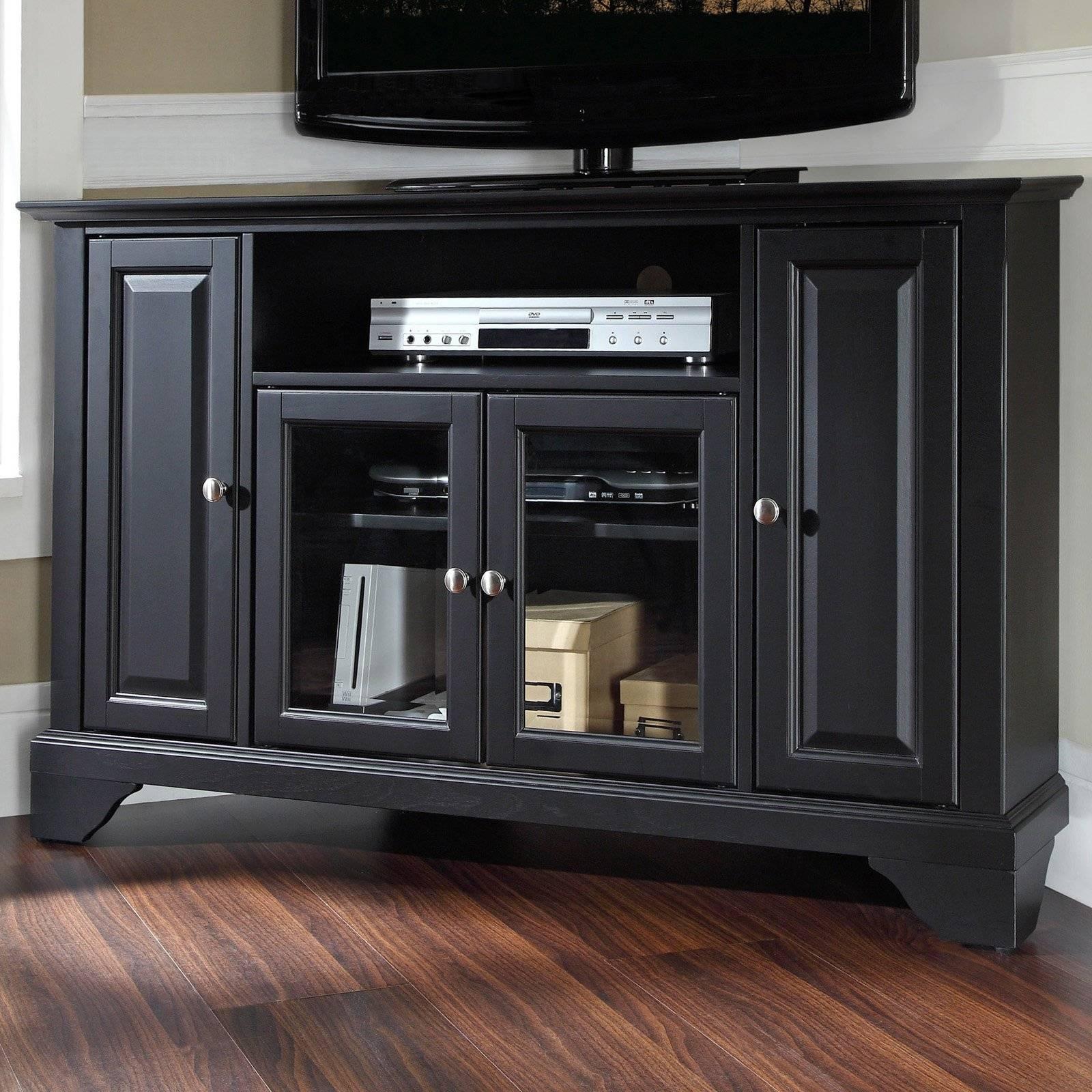 Charmful Sauder Black Tv Stand Sauder Tv Stand Black Home Design throughout Black Wood Corner Tv Stands (Image 2 of 15)