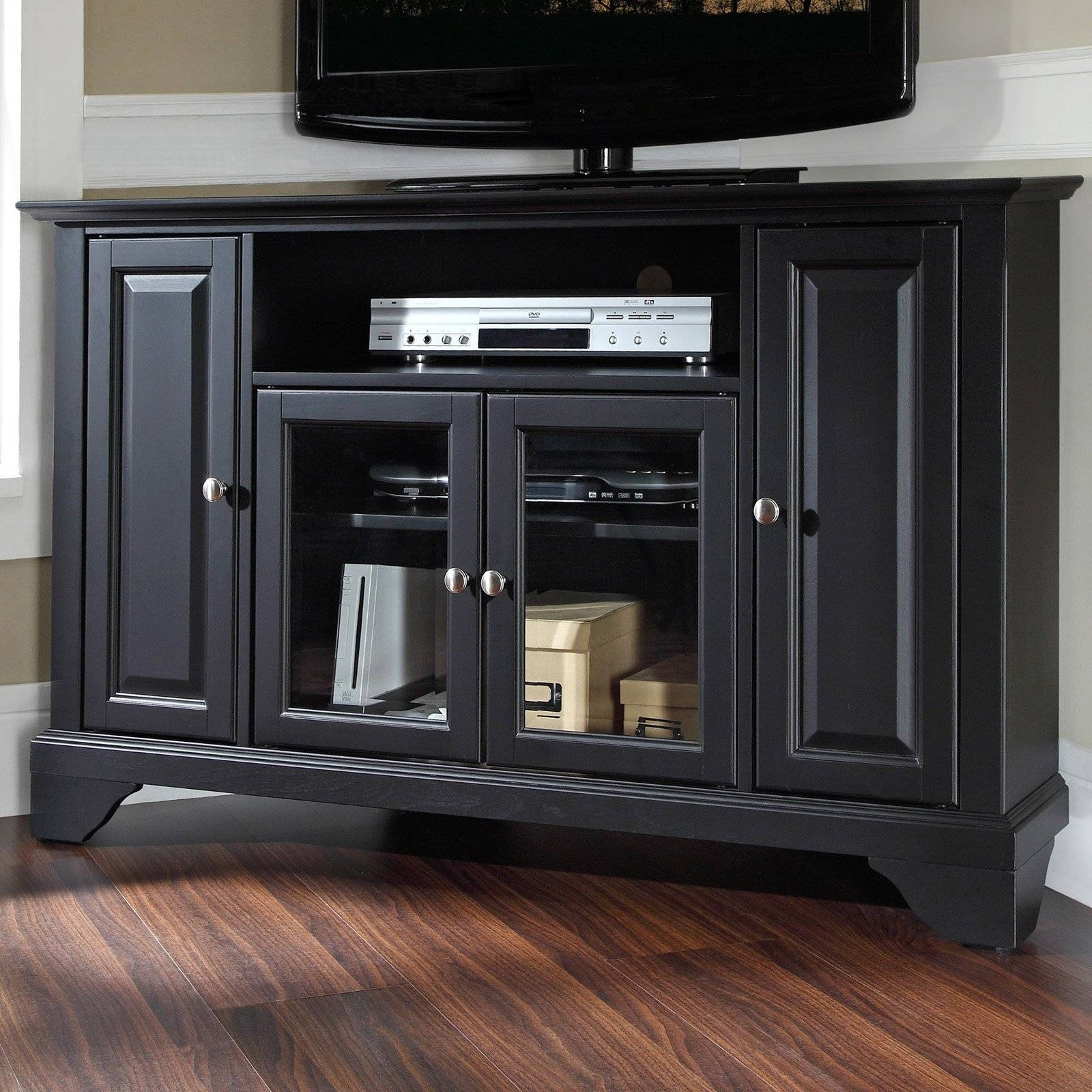 Charmful Sauder Black Tv Stand Sauder Tv Stand Black Home Design within Black Corner Tv Cabinets (Image 2 of 15)