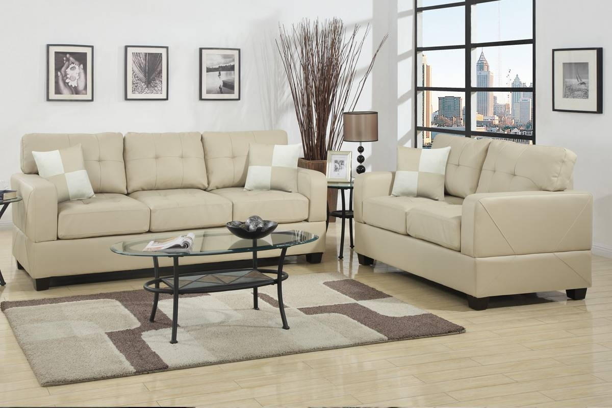Chase Beige Leather Sofa And Loveseat Set - Steal-A-Sofa Furniture for Beige Leather Couches (Image 2 of 15)