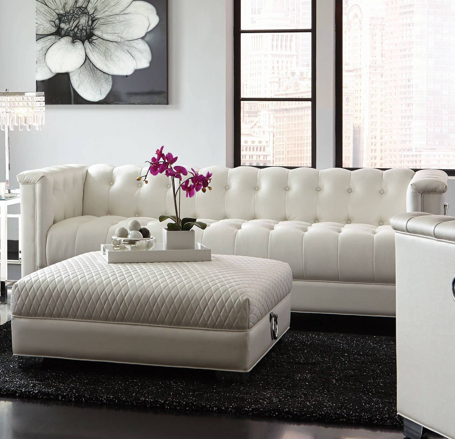 Chaviano Contemporary White Silver Faux Leather Wood Tufted Sofa for Silver Tufted Sofas (Image 2 of 15)