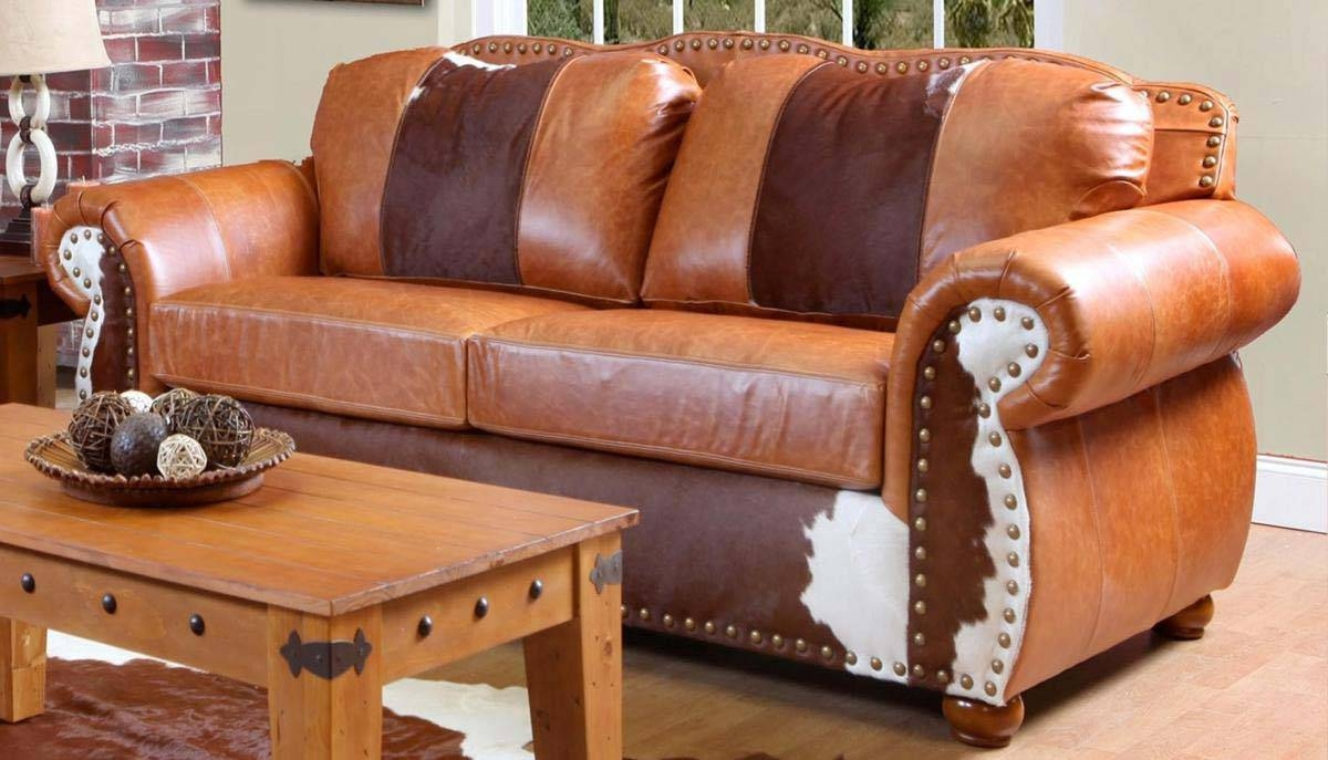 Chelsea Home Rawhide Sofa – Top Grain Leather And Cowhide In Cowhide Sofas (View 4 of 15)