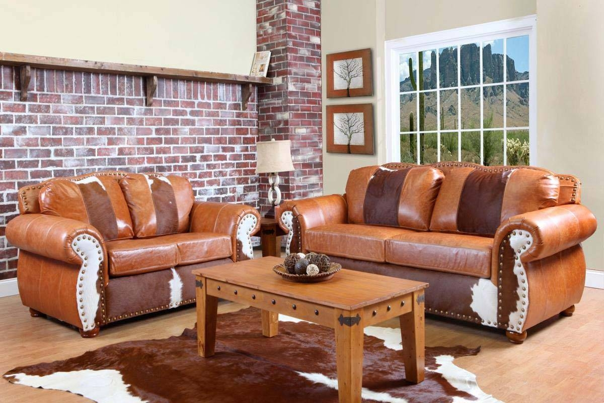 Chelsea Home Rawhide Sofa - Top Grain Leather And Cowhide pertaining to Cowhide Sofas (Image 5 of 15)
