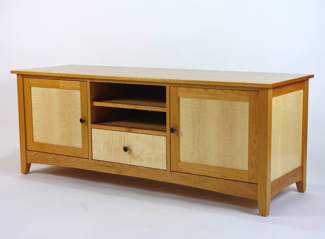 Cherry And Curly Maple Tv Cabinet – Rugged Cross Fine Art Woodworking Intended For Maple Tv Cabinets (View 2 of 15)