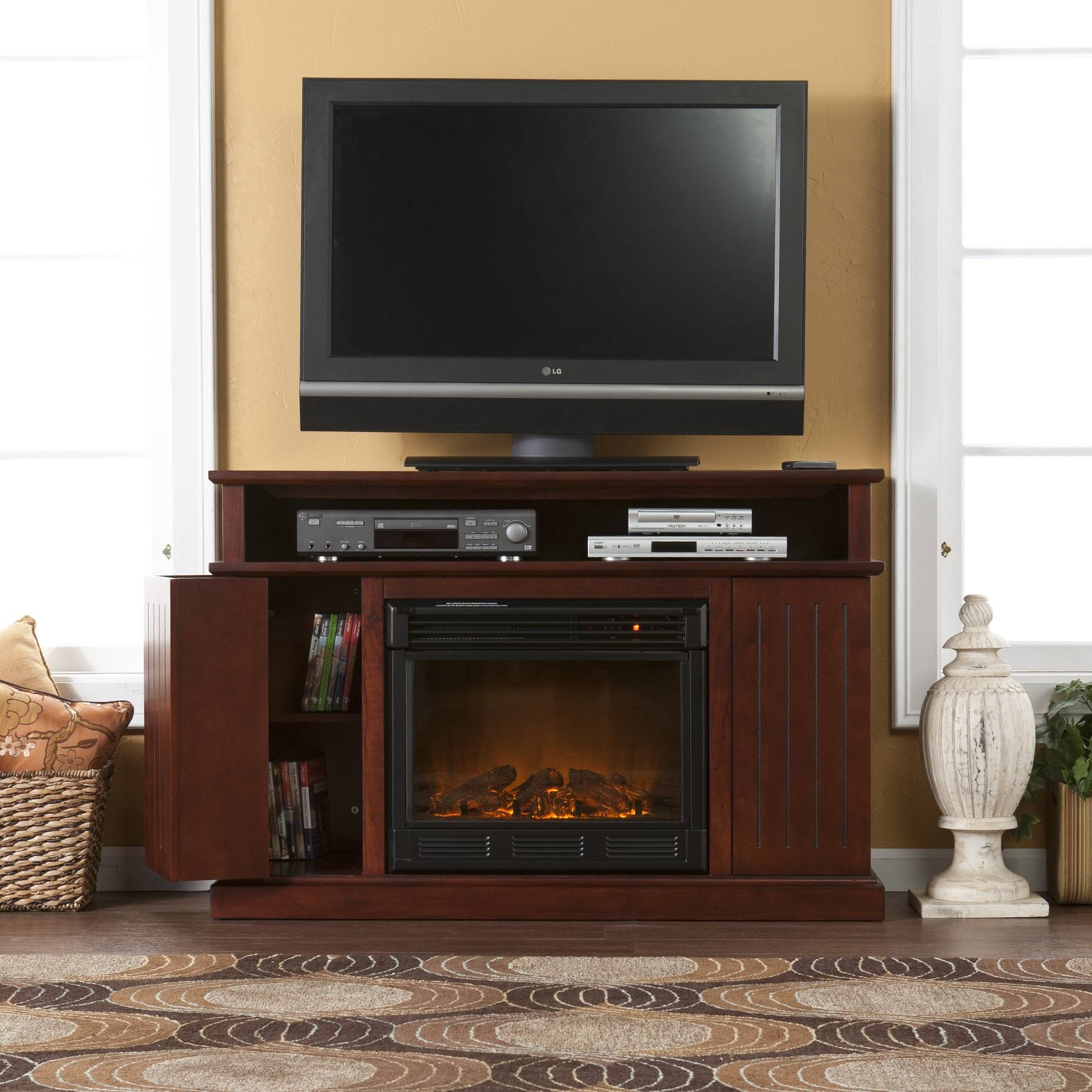 Cherry Wood Tv Stand With Electric Fireplace And Cd Storage regarding Cherry Wood Tv Cabinets (Image 5 of 15)