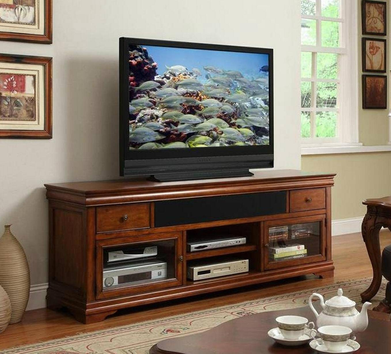 Cherrywood Tv Stand Cherry Wood Tv Stand With Electric Fireplace Inside Cherry Wood Tv Stands (View 5 of 15)