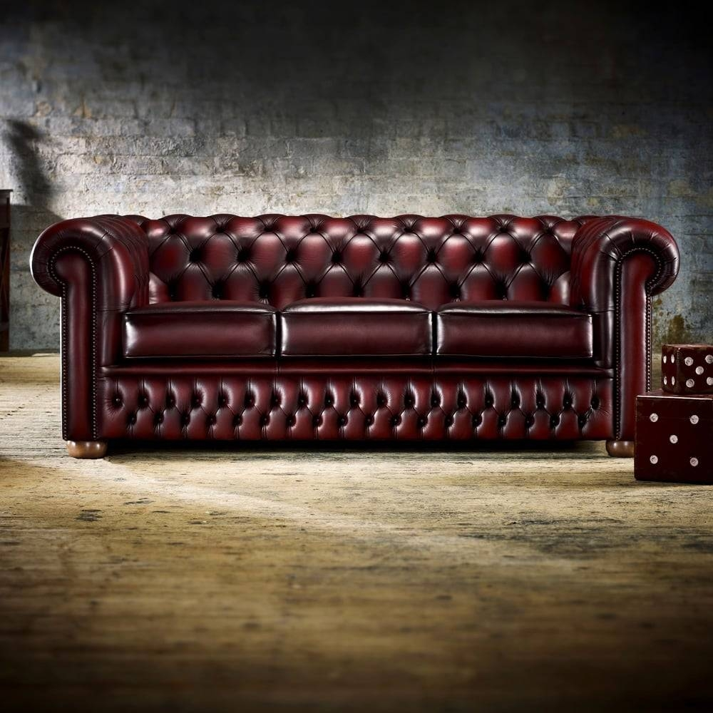 Chesterfield Chair In Antique Red - From Timeless Chesterfields Uk inside Red Chesterfield Chairs (Image 3 of 15)