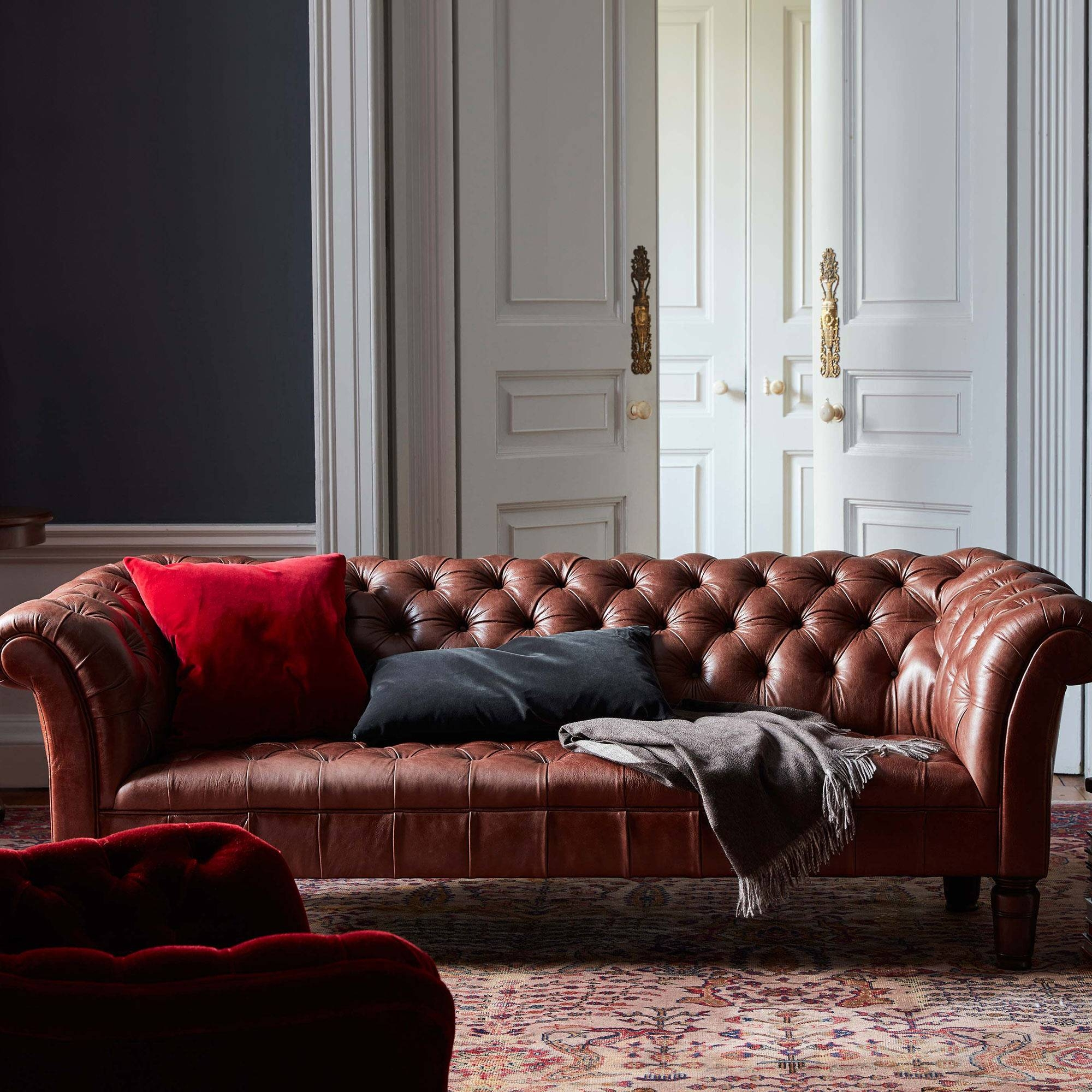 Chesterfield Sofa, Chestnut Leather | Soho Home regarding Red Leather Chesterfield Chairs (Image 4 of 15)