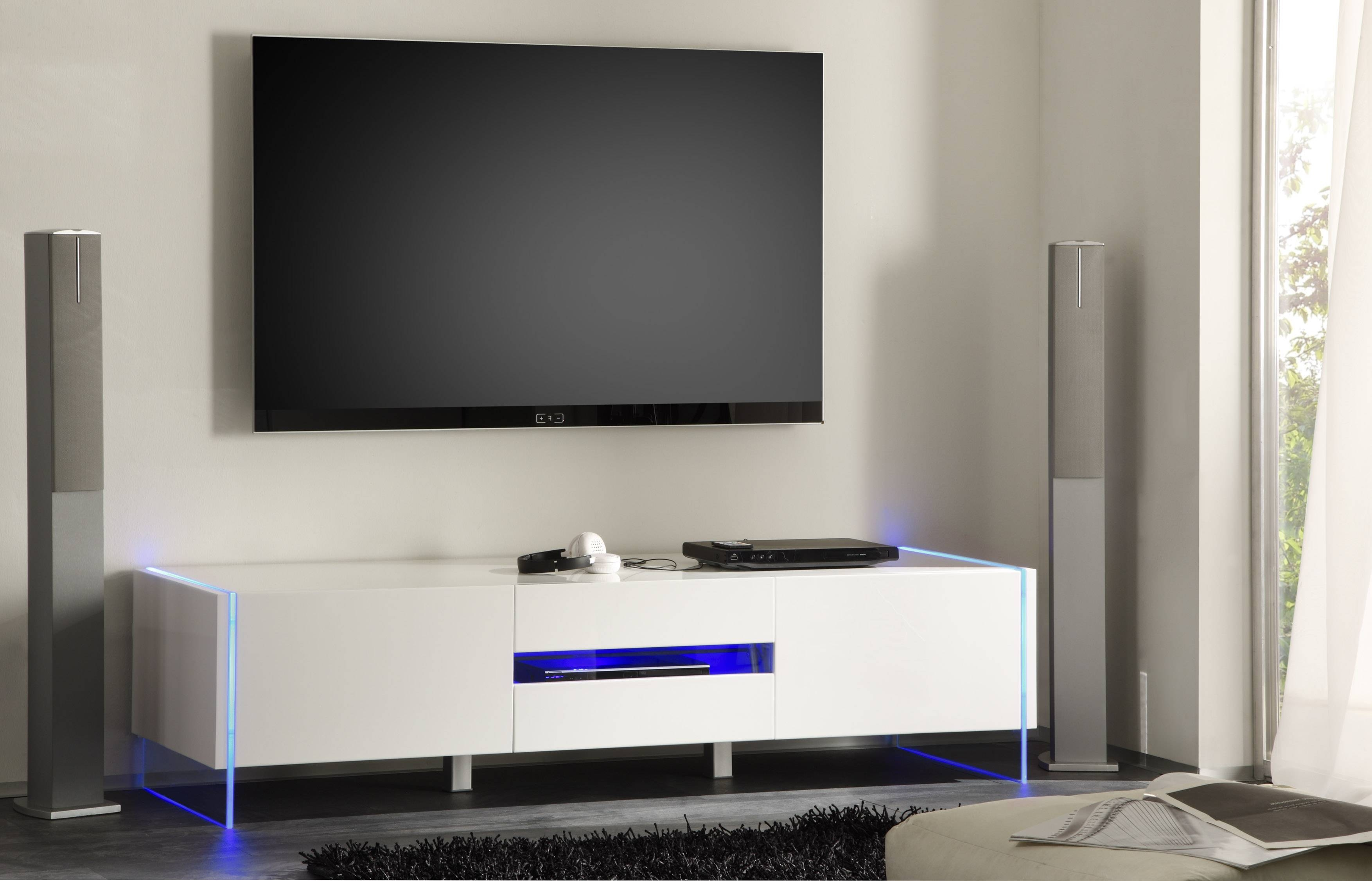 Chic Contemporary White Glossy Tv Stand Base With Led Seattle regarding Modern Contemporary Tv Stands (Image 6 of 15)