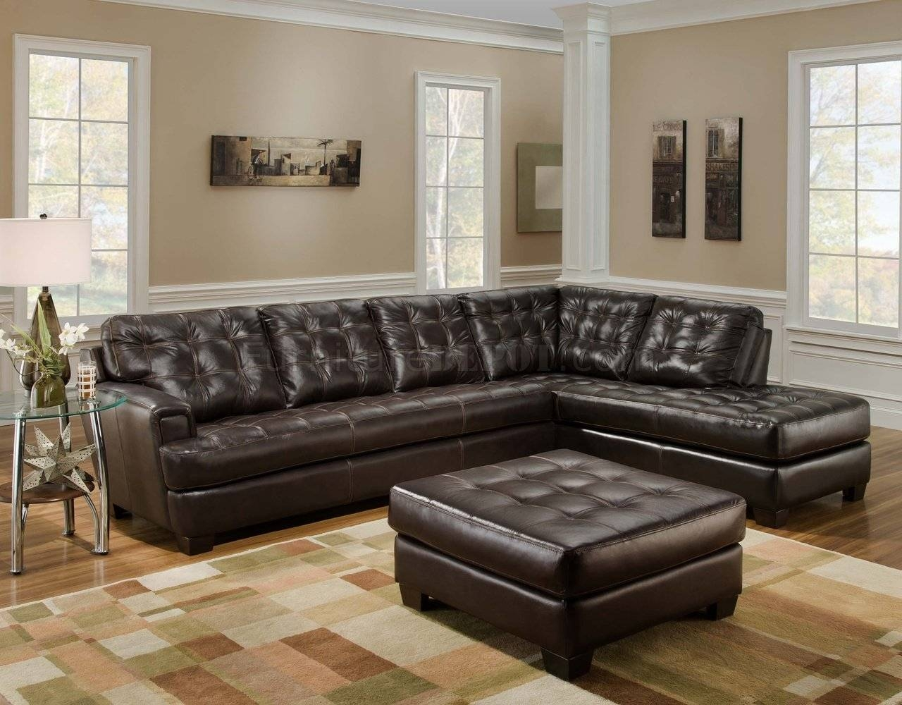Chicory Brown Tufted Top Grain Leather Modern Sectional Sofa regarding Brown Tufted Sofas (Image 5 of 15)