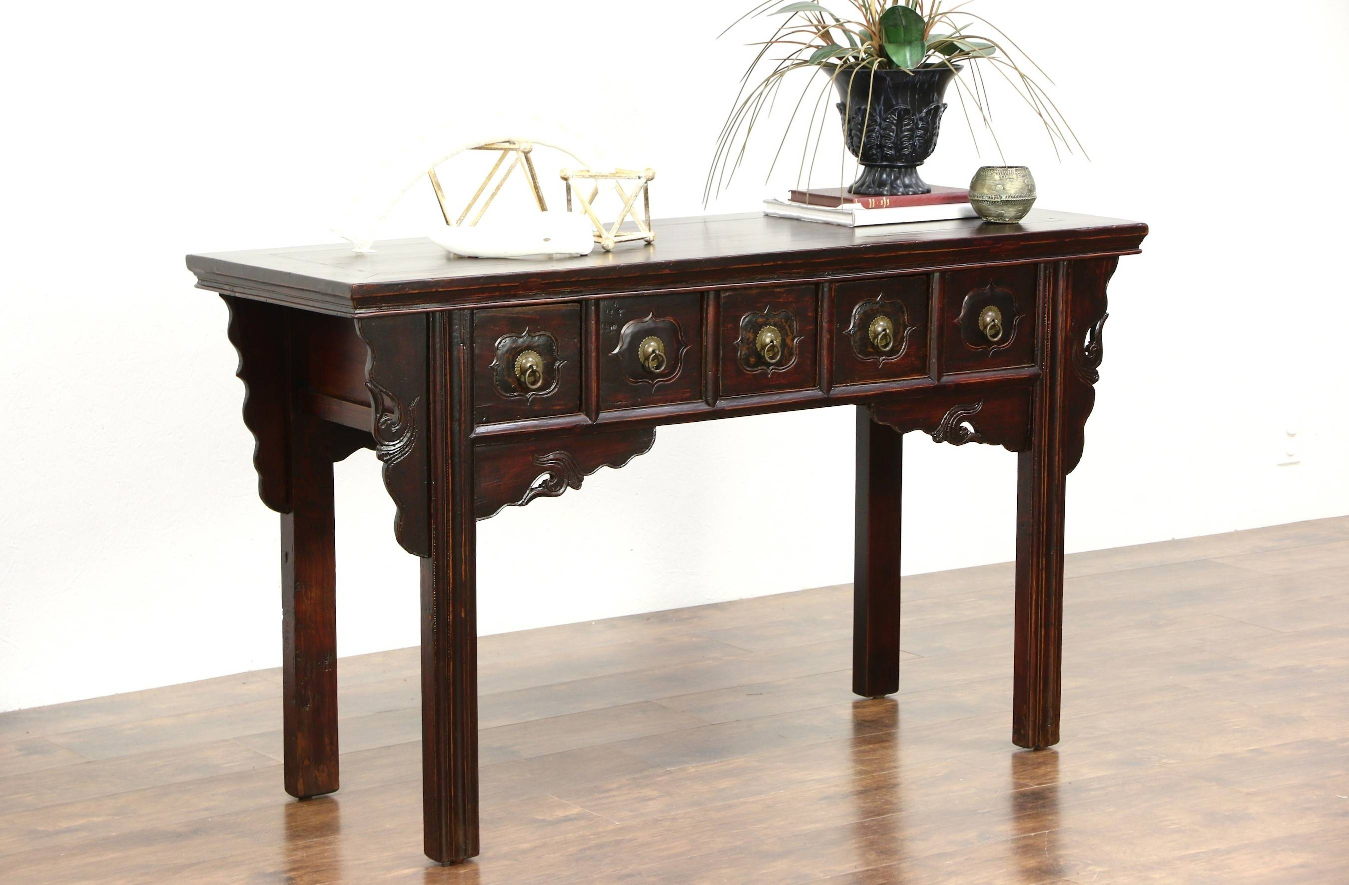 Chinese Vintage Hall Console, Sofa Or Foyer Table, Hand Painted within Asian Sofa Tables (Image 6 of 15)