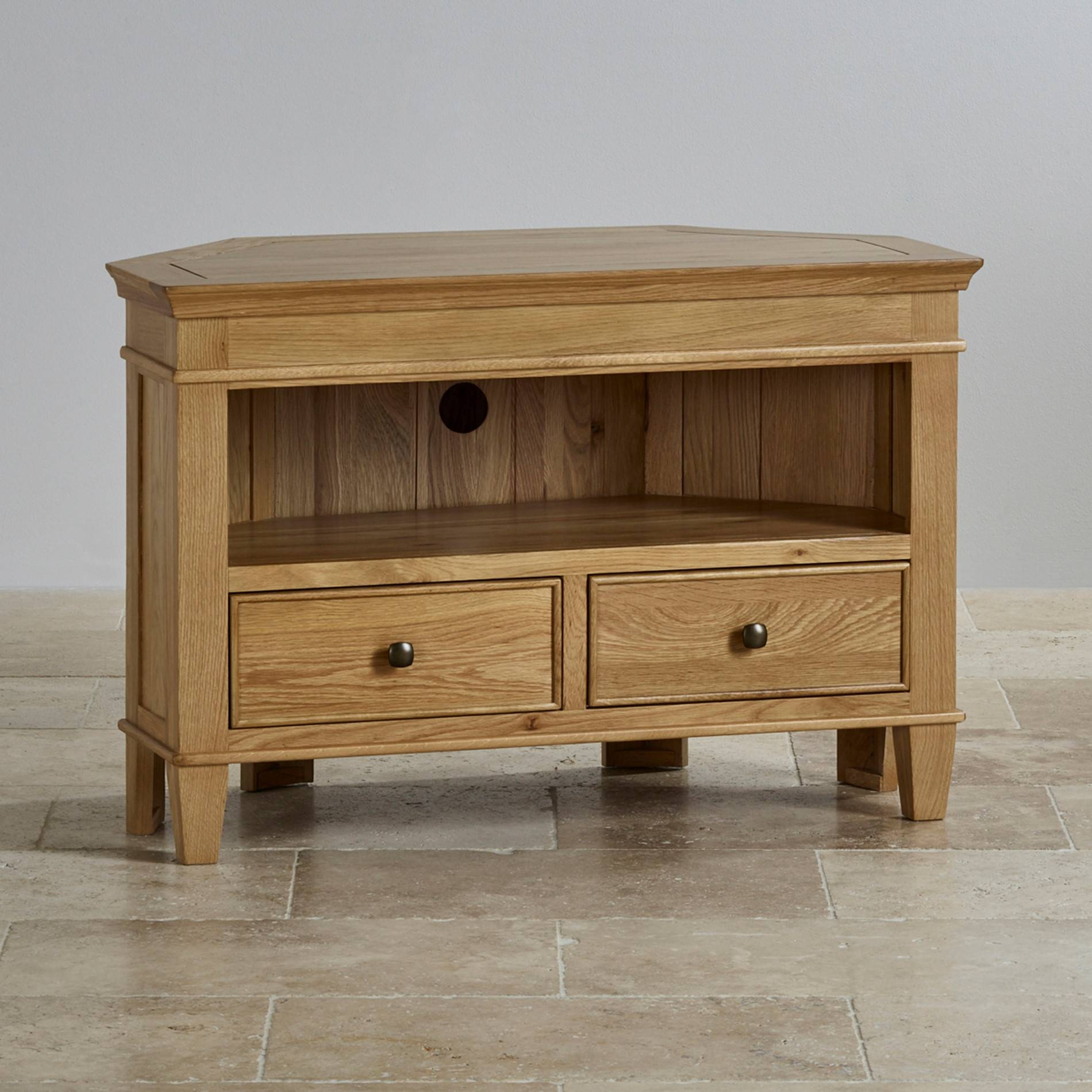 Classic Corner Tv Cabinet In Solid Oak | Oak Furniture Land with Solid Wood Corner Tv Cabinets (Image 3 of 15)