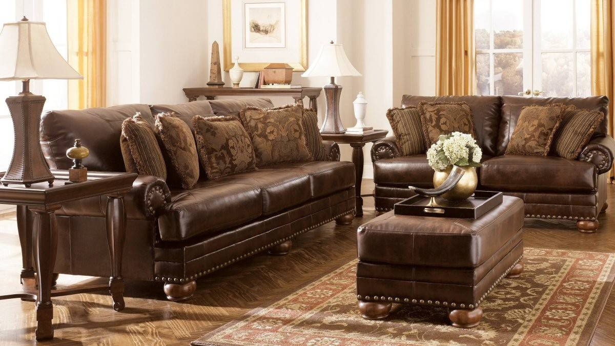 Classic Living Room Style With Ashley Sectional Sofa Furniture Set for Ashley Faux Leather Sectional Sofas (Image 4 of 15)