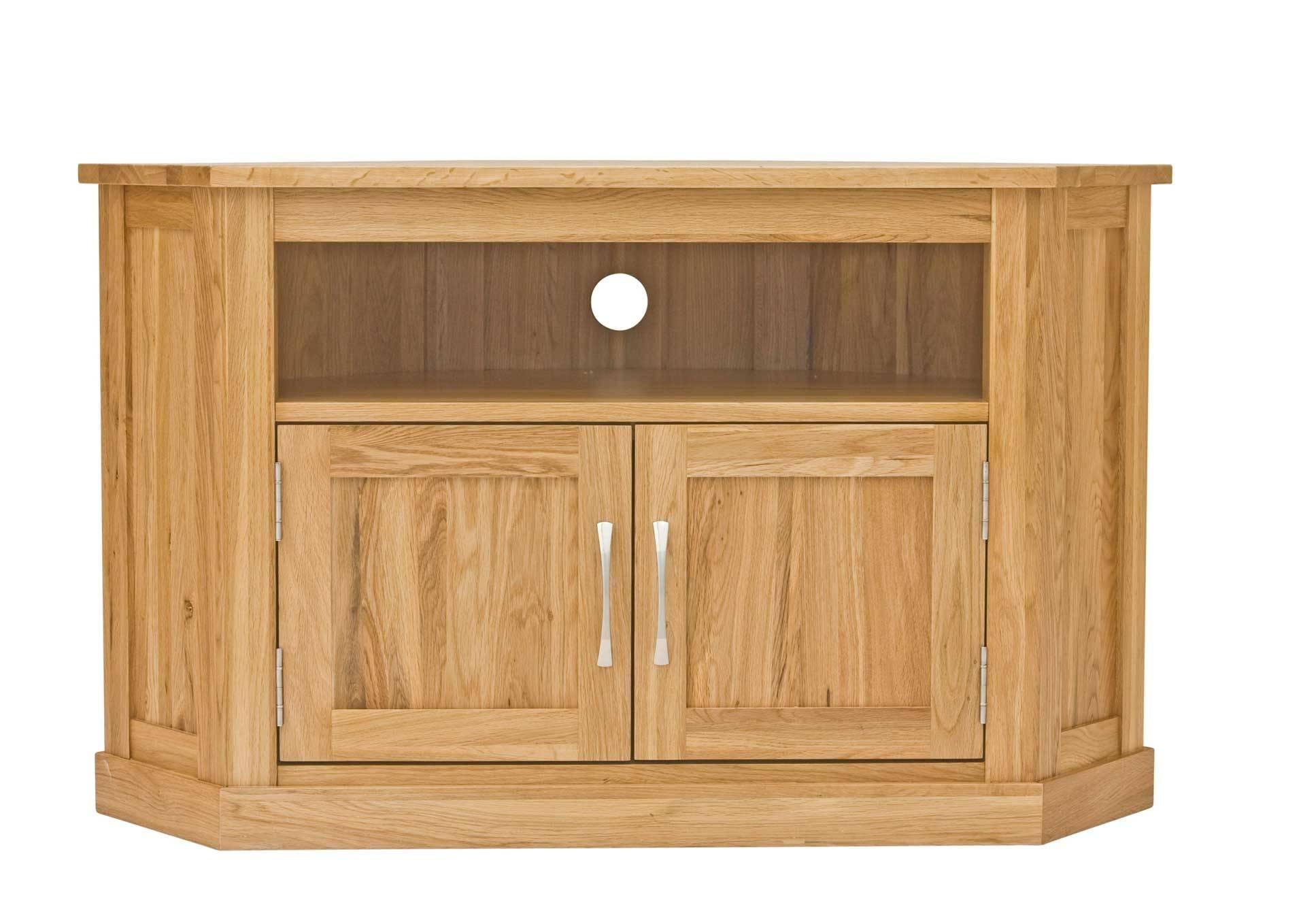 Classic Oak Corner Television Cabinet | Hampshire Furniture within Wood Corner Tv Cabinets (Image 2 of 15)