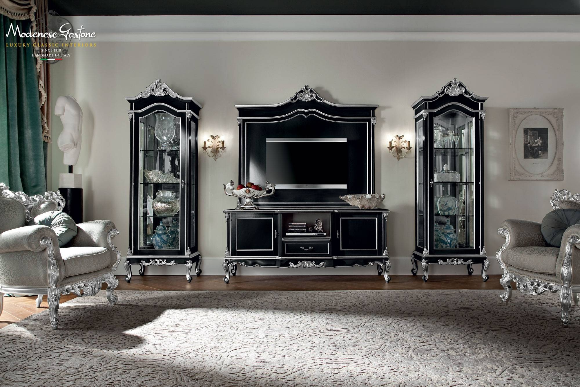 Classic Salon With Furniture Decorated With Gold And Silver Leaf Within Gold Tv Cabinets (View 13 of 15)