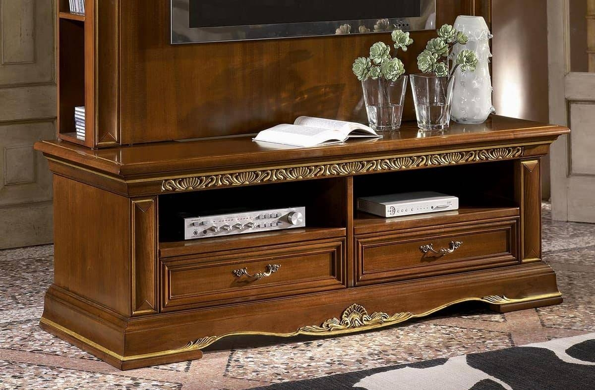 Classic Tv Stand In Carved Wood, Gold Leaf Finish   Idfdesign With Regard To Gold Tv Cabinets (View 11 of 15)