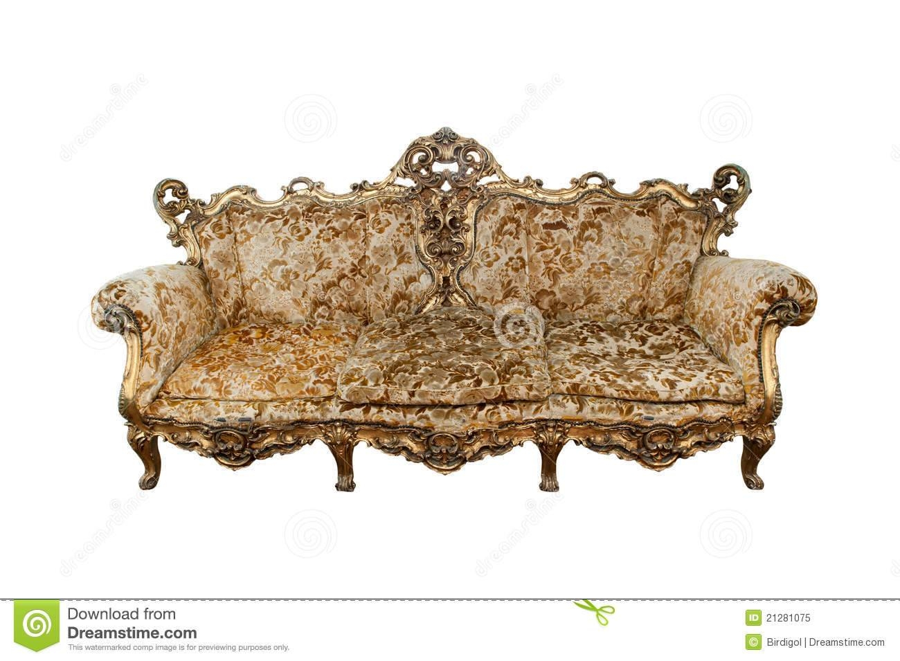 Classical Carved Wooden Sofa Isolate On White Royalty Free Stock With Regard To Carved Wood Sofas (View 5 of 15)