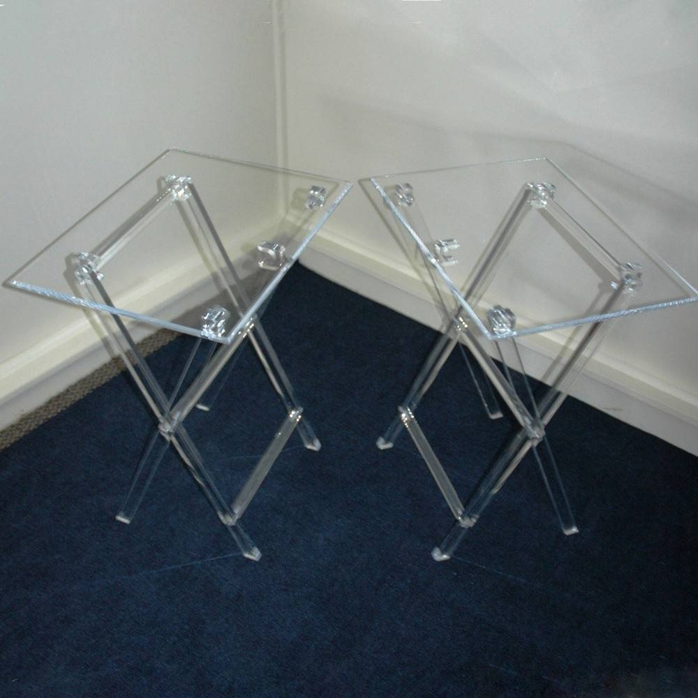 Clear Acrylic Folding Tv Tray Table Tv Stand,snack Tray Snack within Clear Acrylic Tv Stands (Image 4 of 15)