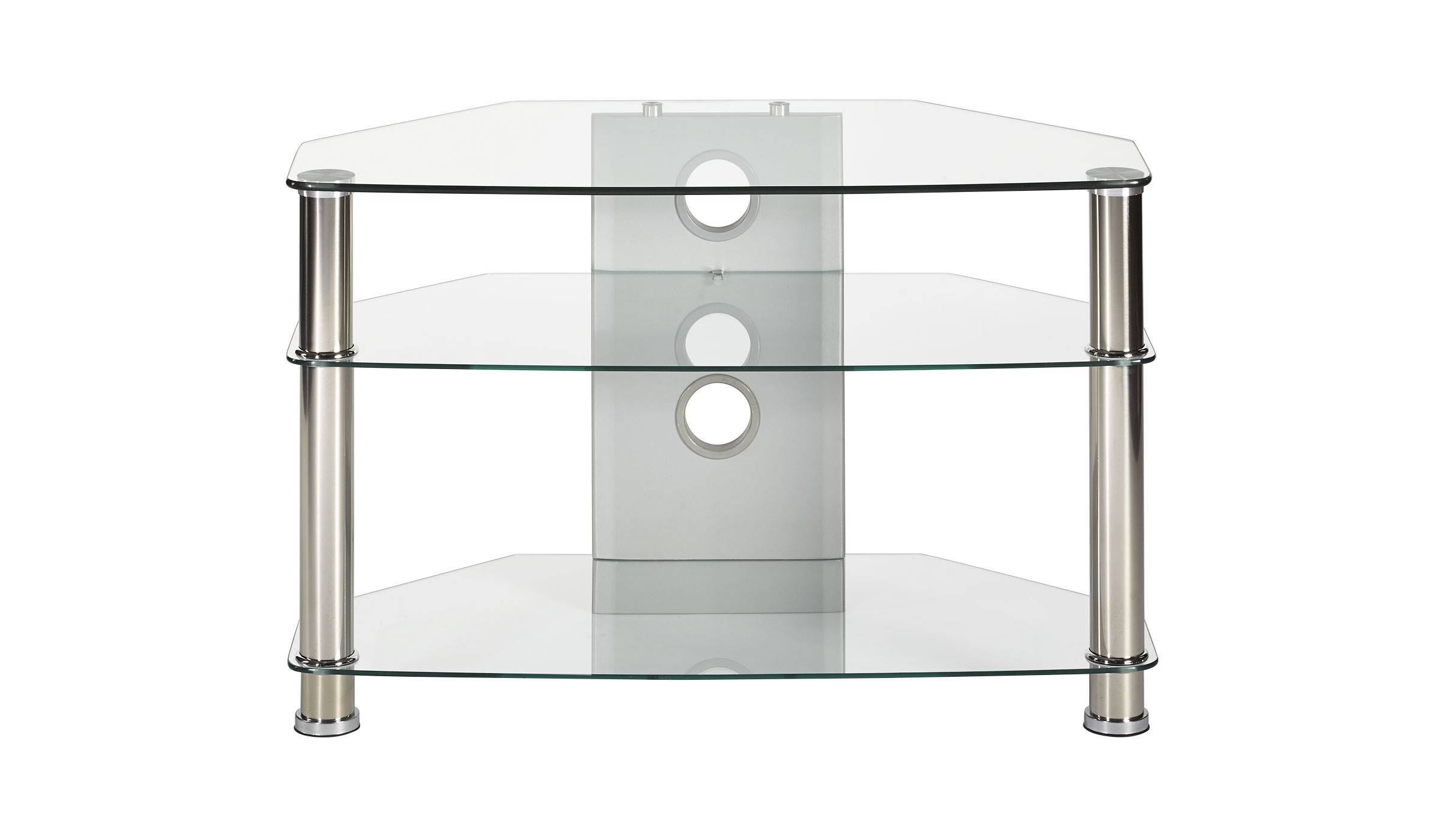 Clear Glass Corner Tv Stand Up To 32 Inch Tv | Mmt-Cl800 in Clear Glass Tv Stand (Image 5 of 15)