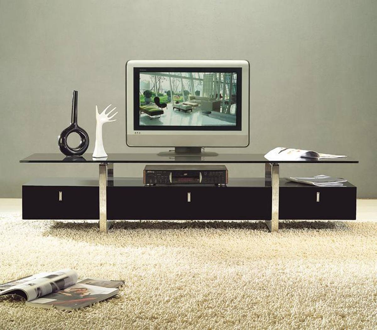 Clear Lined Design Contemporary Brown Color Tv Stand With Glass With Regard To Stylish Tv Stands (View 13 of 15)