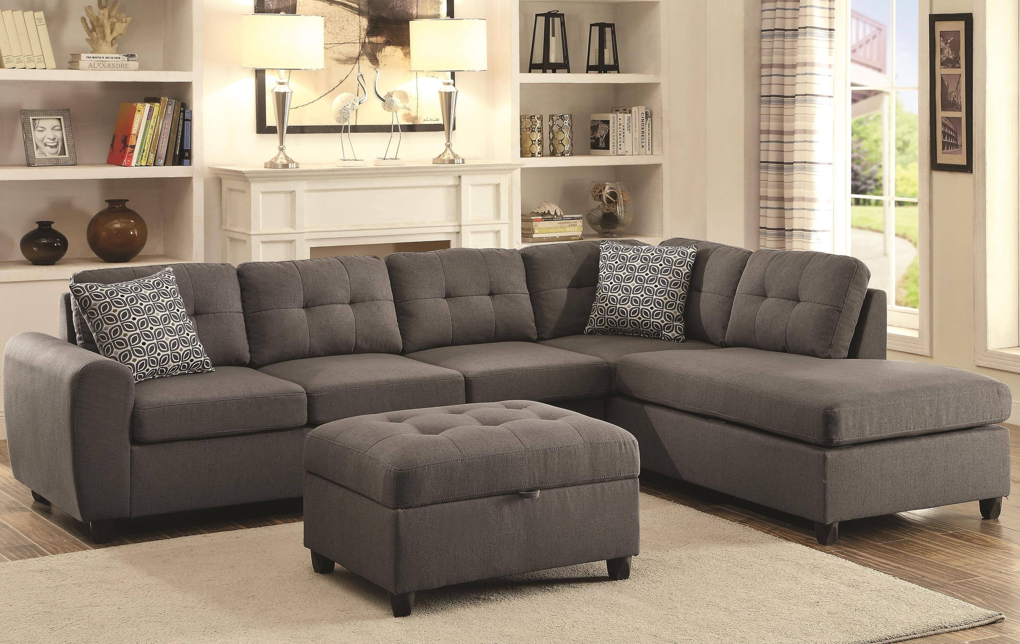 Coaster 500413 Sofa Chaise Sectional With Steel Grey Fabric Upholstery with regard to Coasters Sofas (Image 5 of 15)
