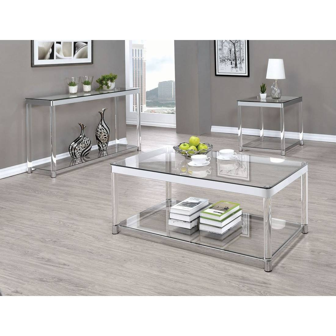 Coaster 720749 Sofa Table In Chrome/clear Acrylic Intended For Chrome Sofa Tables (View 4 of 15)