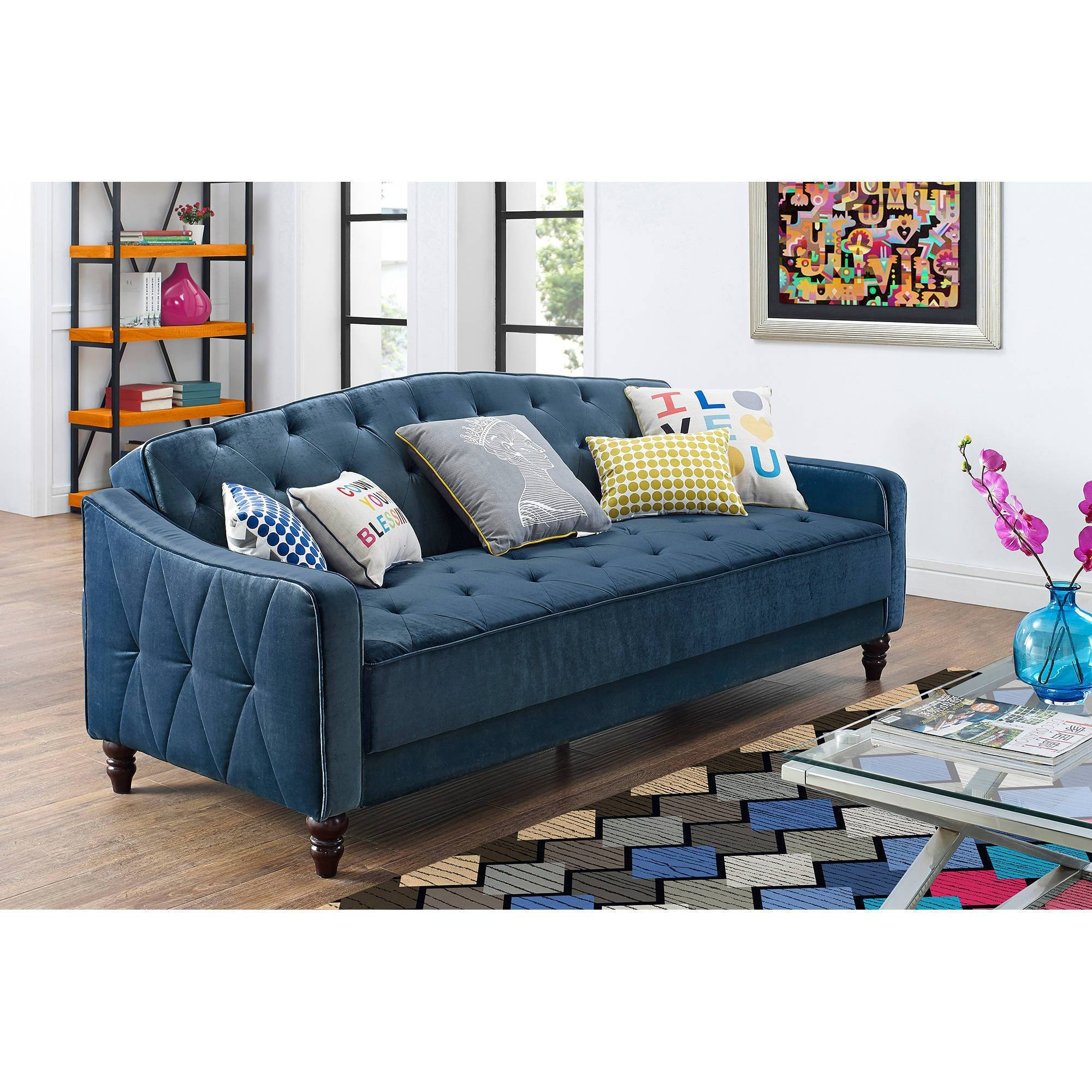 Coaster Company Black Accent Lounge Chair Futon Sofa Bed - Walmart within Convertible Futon Sofa Beds (Image 9 of 15)