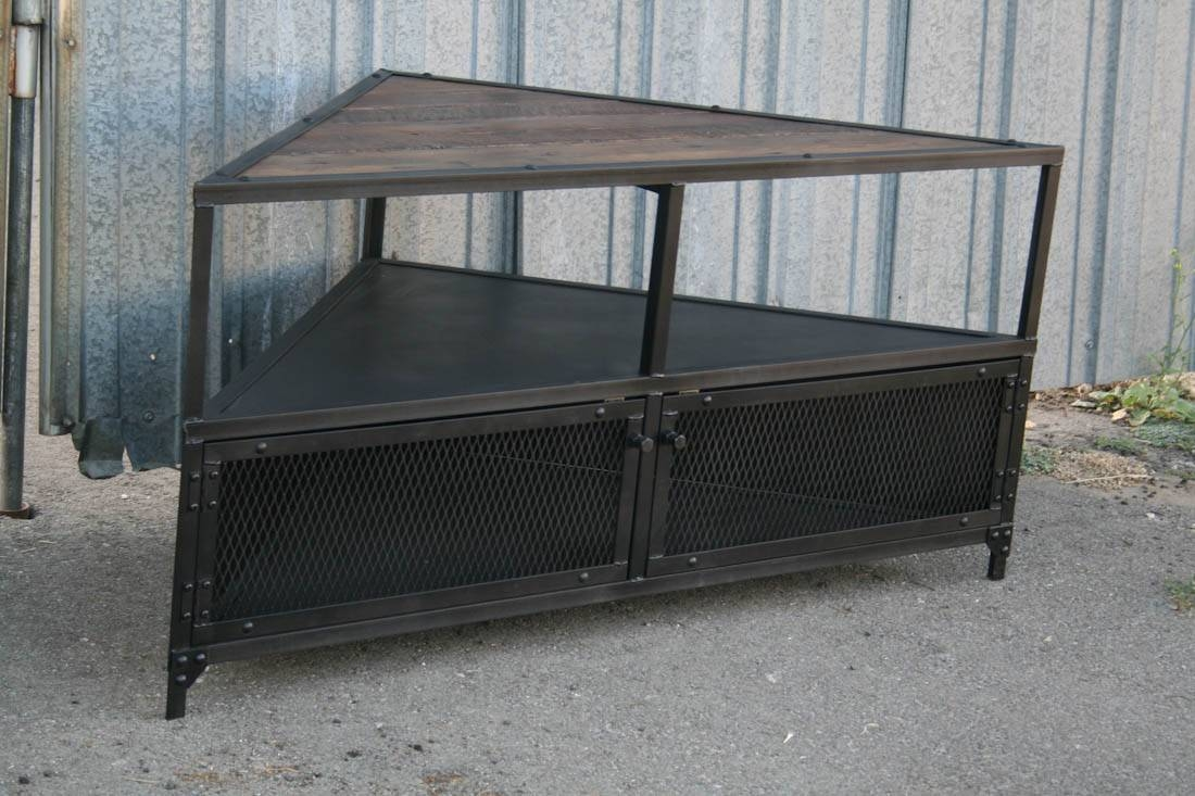 Combine 9 | Industrial Furniture – Vintage Style Corner Unit Tv Stand. within Industrial Tv Cabinets (Image 4 of 15)