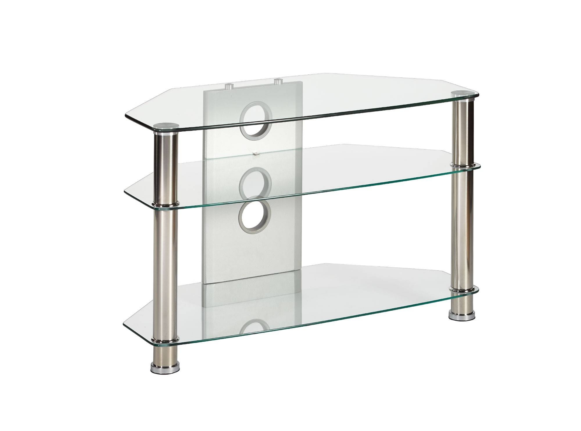 Compact Clear Glass Corner Tv Stand Up To 37 Inch Tv | Mmt-Cl800 in Clear Glass Tv Stand (Image 6 of 15)
