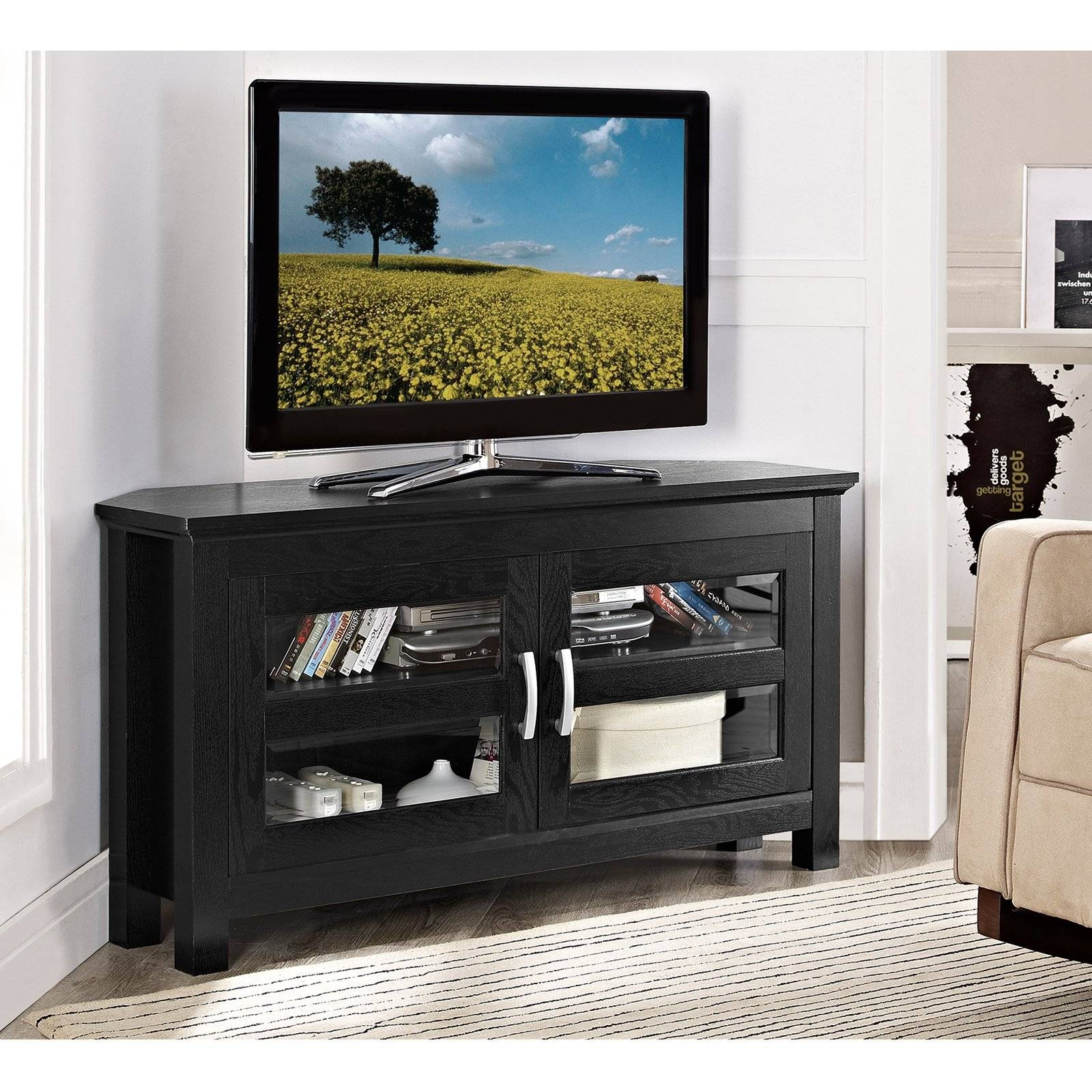 Compton Black Corner Tv Stand - Walmart pertaining to Black Wood Corner Tv Stands (Image 3 of 15)