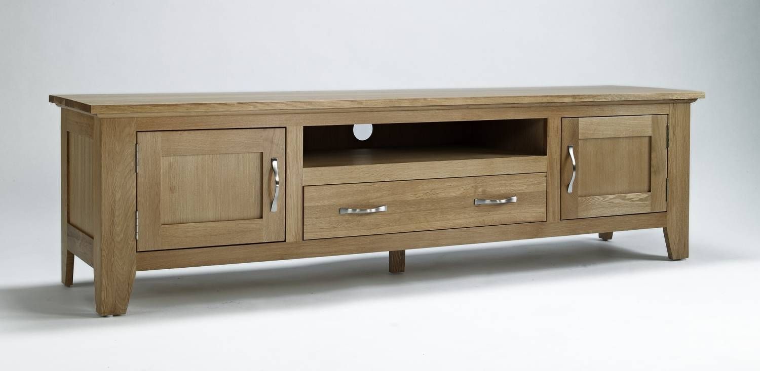Compton Solid Oak Living Room Furniture Large Widescreen Tv inside Widescreen Tv Cabinets (Image 5 of 15)